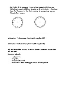 2nd Grade Math Journal Prompts - Unit 7 Investigations