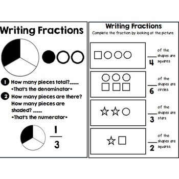 Second Grade Guided Math Journals Fractions