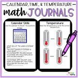 Second Grade Guided Math Journals Time, Temperature, & Calendar