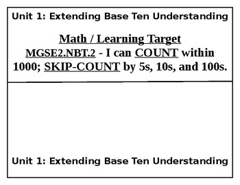 2nd Grade Math Learning Targets