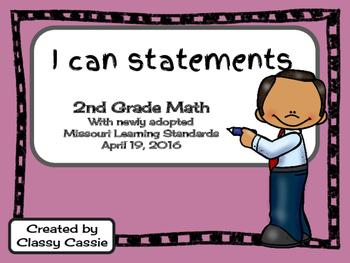 2nd Grade Math Missouri Learning Standards I can Statement & Checklist