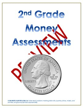 2nd Grade Math Money Pre and Post Assessments