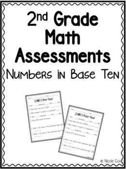 2nd Grade Math NBT Assessments - Pre and Post Tests