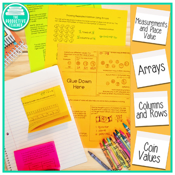 2nd Grade Math Review No Cut Interactive Notebook Pages