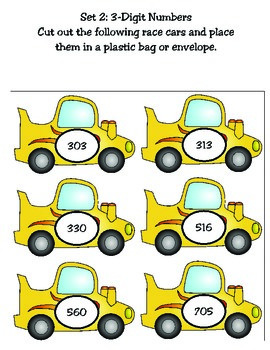 2nd Grade Math: Park Those Cars! Compare and Order File Folders (TEKS 2.2D)