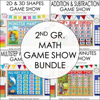 2nd Grade Math PowerPoint Jeopardy Style Game Show Bundle
