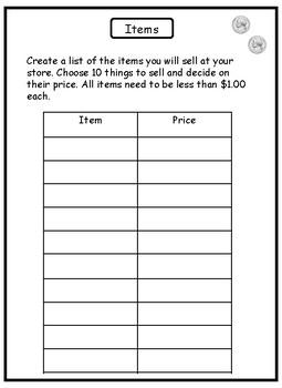 2nd Grade Math Project: Opening a Store