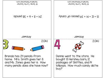 2nd Grade Math Review Cards - 2.OA.1, 2NBT.5, 2.NBT.6, 2.OA.4, 2.MD.7, 2.MD.8
