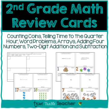 2nd Grade Math Review Cards - 2.OA.1, 2NBT.5, 2.NBT.6, 2.O