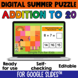 2nd Grade Math Review Game Addition to 20 Digital Summer P