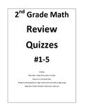 2nd Grade Math Review Quizzes #1-5