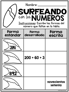 2nd Grade Summer Math Review in Spanish