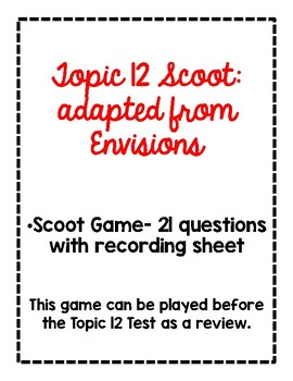 2nd Grade Math Scoot Game for Topic 12 adapted from Envisions
