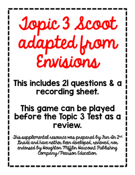 2nd Grade Math Scoot Game for Topic 3 adapted from Envisions