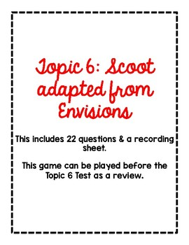 2nd Grade Math Scoot Game for Topic 6 adapted from Envisions