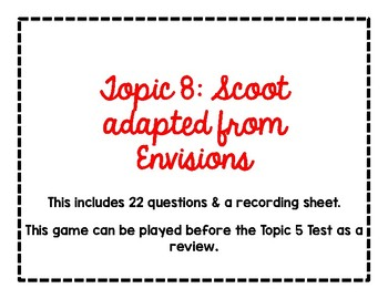 2nd Grade Math Scoot Game for Topic 8 adapted from Envisions
