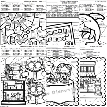 2nd Grade Math Skills Color By Numbers Bundle