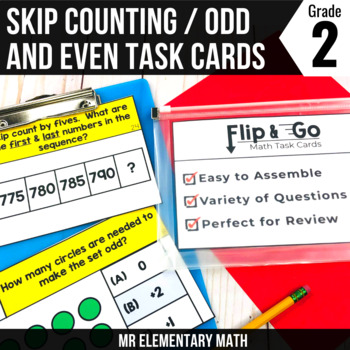 Skip Counting and Odd Even Numbers - 2nd Grade Math Flip and Go Cards