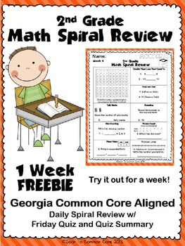 2nd Grade Math Spiral Review ~ 1 Week FREEBIE