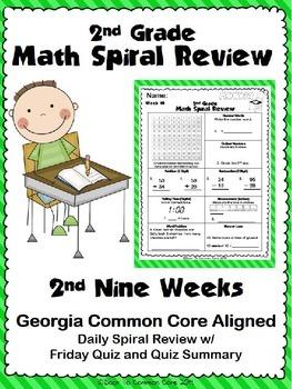 2nd Grade Math Spiral Review ~ 2nd Quarter
