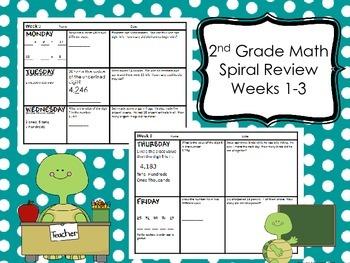 2nd Grade Math Spiral Review - Weeks 1-3