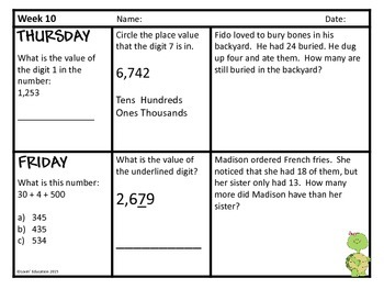 2nd Grade Math Spiral Review - Weeks 10-12