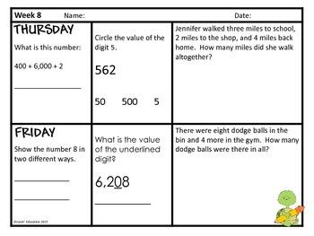 2nd Grade Math Spiral Review - Week 8