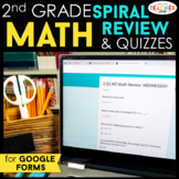2nd Grade Math Spiral Review & Weekly Quizzes | Google Forms | Google Classroom