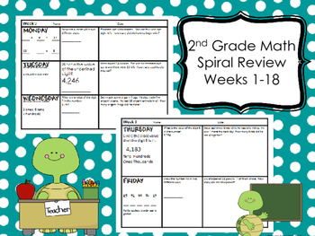2nd Grade Math Spiral Review - Weeks 1-18