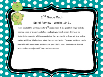 2nd Grade Math Spiral Review - Weeks 19-21