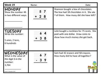 2nd Grade Math Spiral Review - Weeks 19-27
