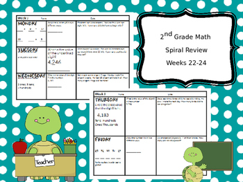 2nd Grade Math Spiral Review - Weeks 22-24