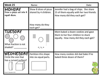 2nd Grade Math Spiral Review - Weeks 25-27