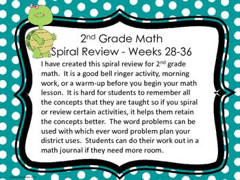 2nd Grade Math Spiral Review - Weeks 28-36