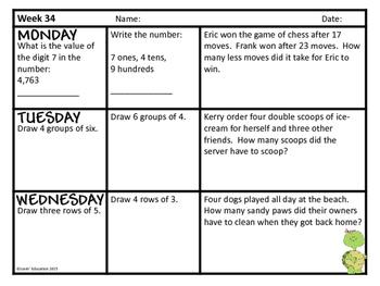 2nd Grade Math Spiral Review - Weeks 34-36