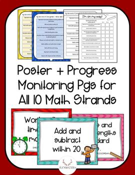 2nd Grade Math Standard Strands Posters + Progress Monitoring Sheets