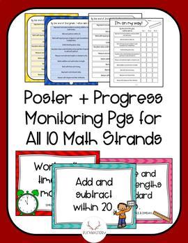 2nd Grade Math Standard Strands Posters + Progress Monitoring Sheets
