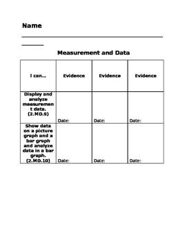 2nd Grade Math Standards Data Tracking Sheets