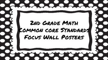 2nd Grade Math Standards on Black Polka Dotted Frame