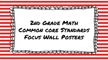 2nd Grade Math Standards on Red Striped Frame