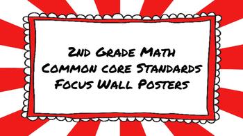 2nd Grade Math Standards on Red Sunburst Frame