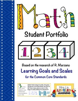 2nd Grade Math Student Portfolio Pages with Marzano Scales - FREE!