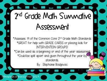 2nd Grade Math Summative Assessment (Common Core)
