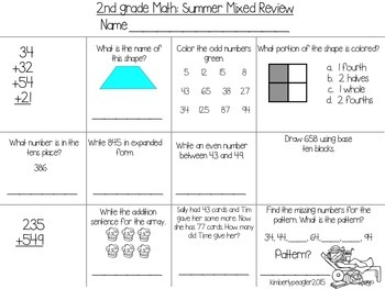 2nd Grade Math: Summer Mixed Review