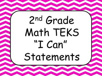 "2nd Grade Math TEKS ""I Can"" Statements"