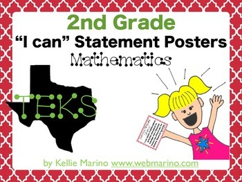 "2nd Grade Math TEKS ""I can"" Statement Posters"