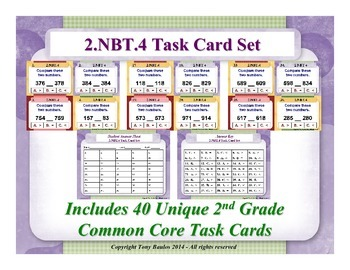 2nd Grade Math Task Cards 2 NBT.4 Compare Two Three-Digit