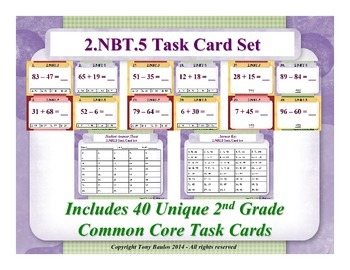 2nd Grade Math Task Cards 2 NBT.5 Add & Subtract Within 10