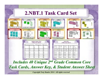 2nd Grade Math Task Cards 2.NBT.1 Understand Place Value 2 NBT.1