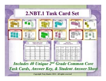 2nd Grade Math Task Cards 2.NBT.1 Understand Place Value 2 NBT.1